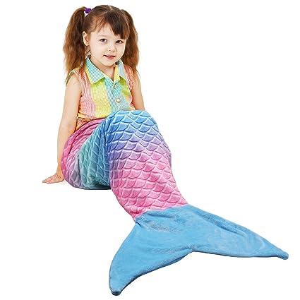 Cataluña de peluche manta de franela de cola de sirena para Teen niño niños, Fuzzy