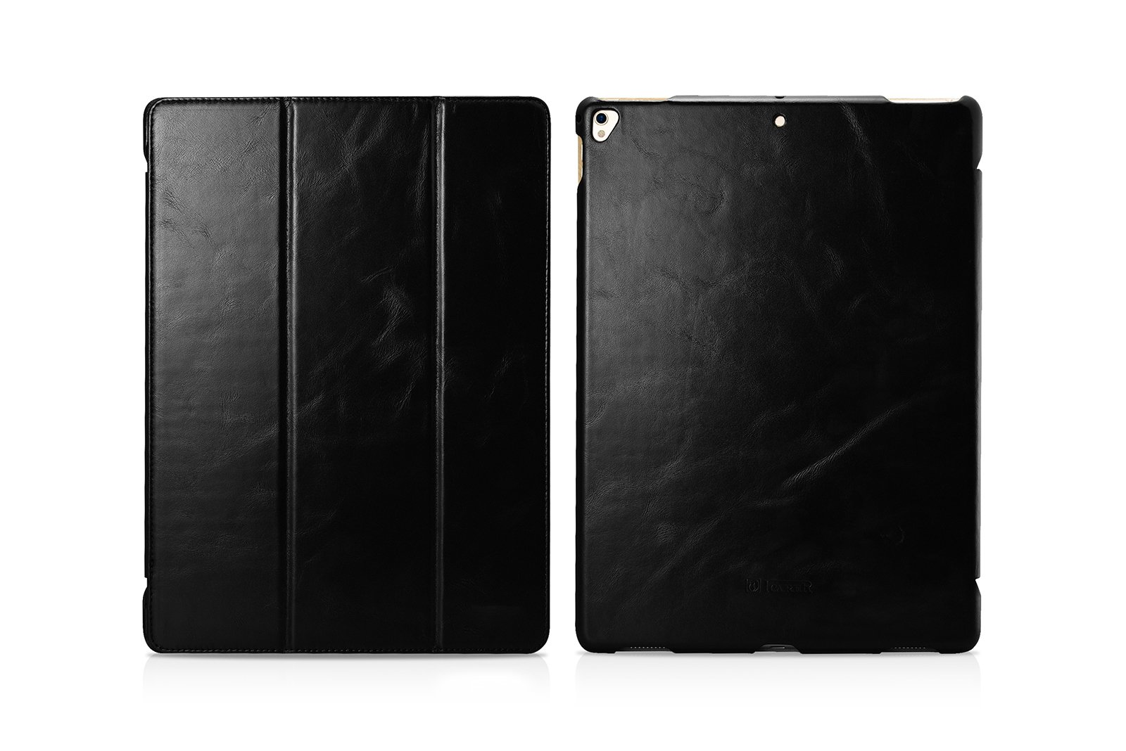 Pad Pro Leather Case, Icarercase Vintage Genuine Leather Side Open Flip Folio Style Smart Cover in Ultra Slim Design with Stand & Auto Wake/Sleep Functions for 12.9-inch iPad Pro 2017 (Black)