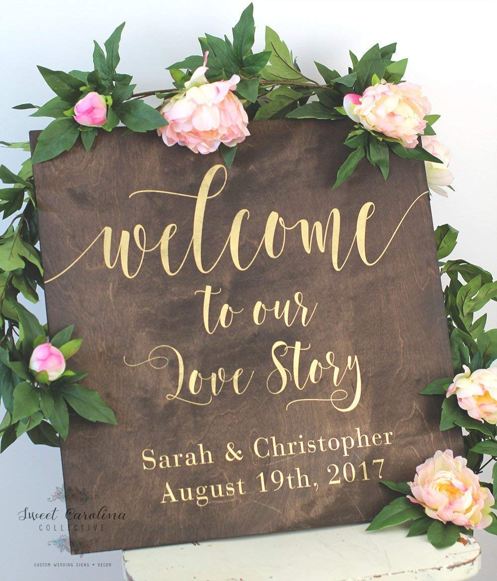 Love Story Wood Sign for Weddings: Display Date & Couple Name, Personalized  Welcome Wedding Sign, Weathered Oak Stain Wood Sign, Wedding & Reception
