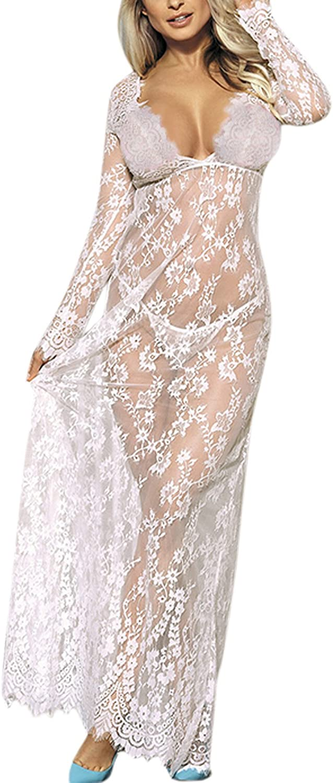 LAEMILIA Womens Maternity Dress Lingerie Bikini Cover Up Beachwear Lace Long Maxi Dress Photography Dress for Photo Shoot Sleepwear Night Dress Pajama Gown