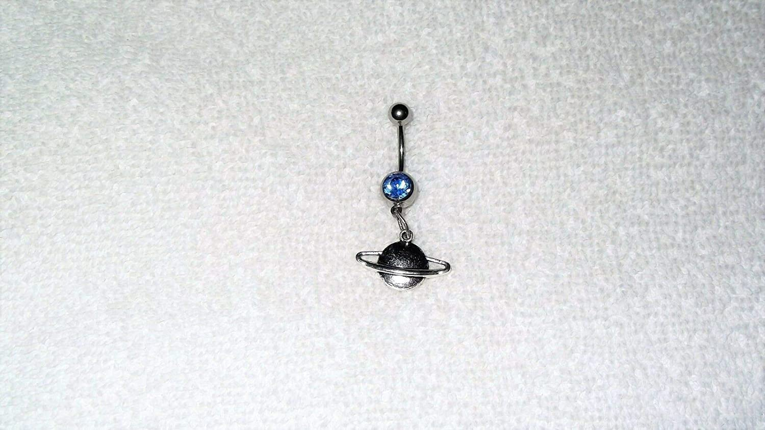 Planet Saturn Rings Universe Charm Belly Navel Ring Body Jewelry Piercing 14g #IS-741