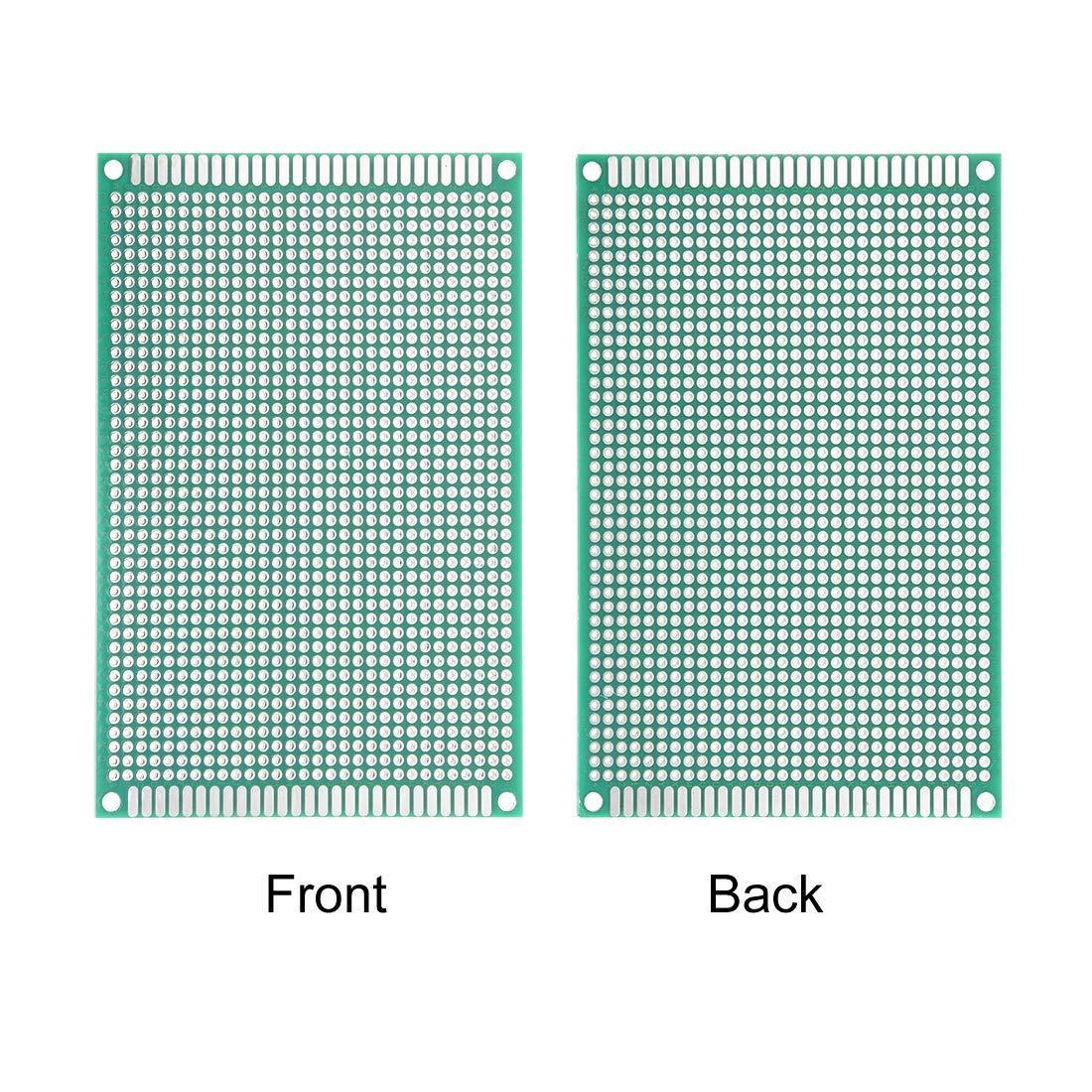 Placa de circuito impreso universal de doble cara Sourcingmap 8 x 12 cm, para soldar, 10 unidades