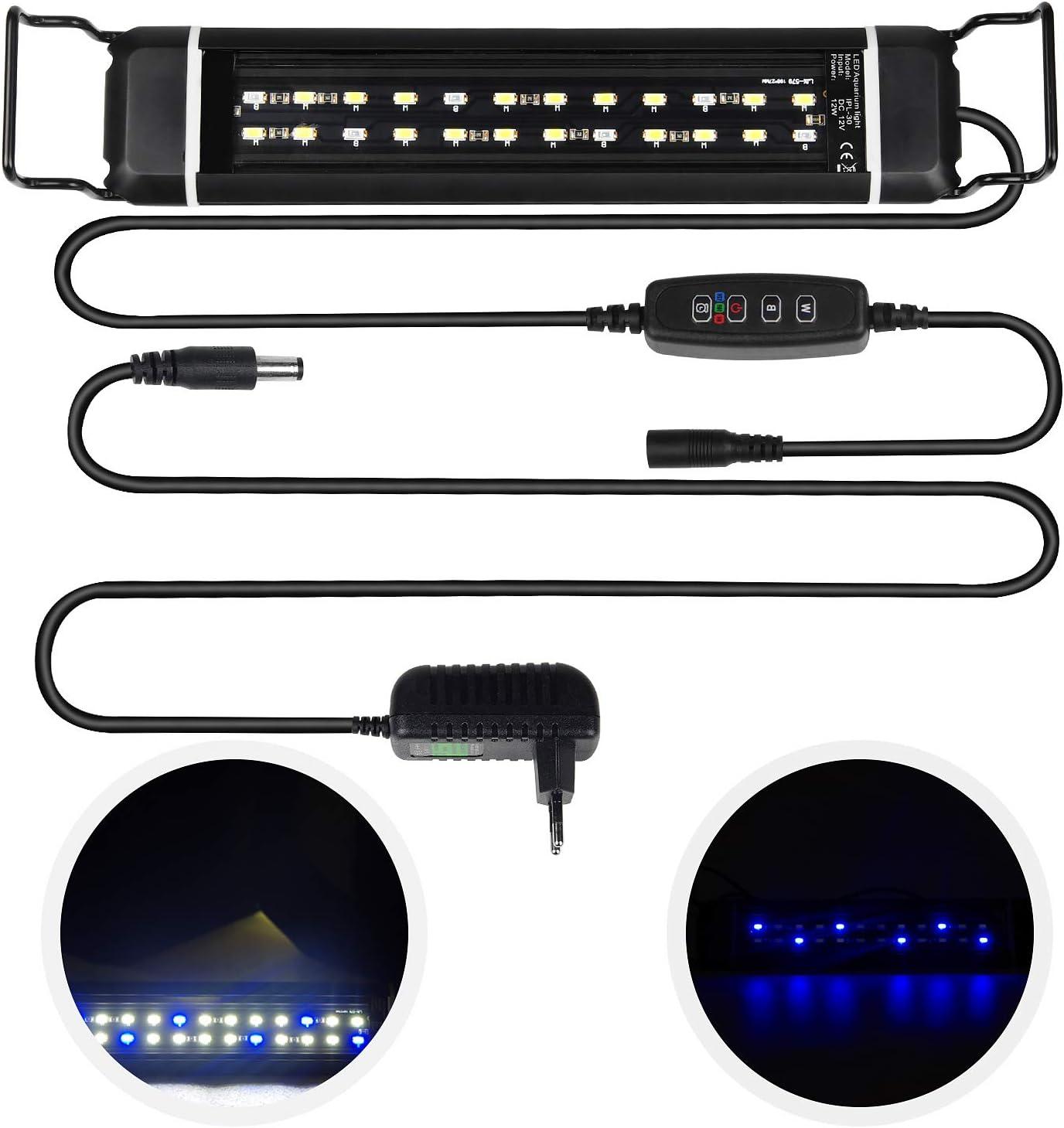 CPROSP Illuminazione a LED per Acquario con Timer, con 3 Colori di Luce Regolabili Bianco/Blu/Blu + Bianco, per Acquari da 30 cm a 48 cm, 12 W, Nero