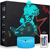 Elstey Ice Hockey Night Light,3D Kids Bedside Lamps,Frame Table Lamp,Eye See Lamps,Touch&Remote Control,16 Colors+7 Colors Changing Illusion Nightlight,Birthday Gifts for Girls Boys