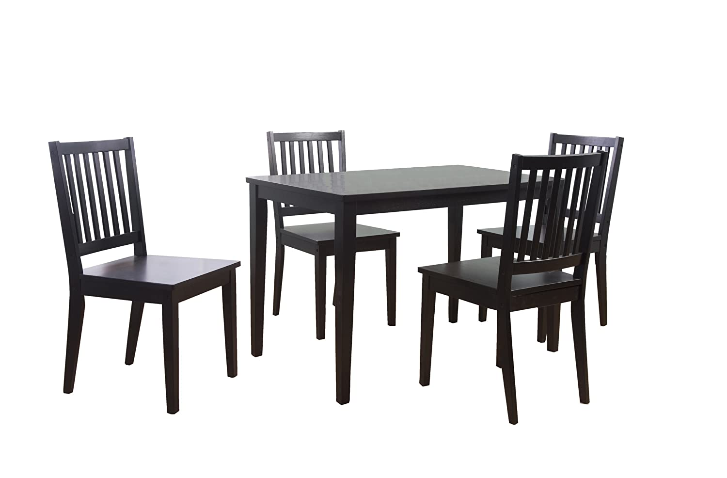 amazoncom target marketing systems 5 piece shaker dining set with 4 slat back chairs and 1 dining table black table u0026 chair sets