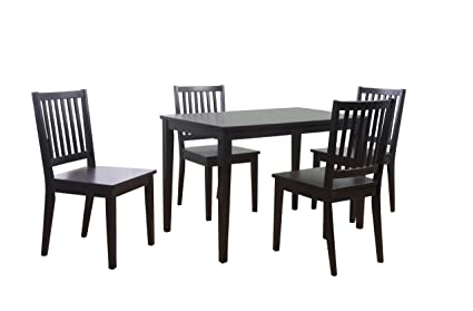 Elegant Target Marketing Systems 5 Piece Shaker Dining Set With 4 Slat Back Chairs  And 1 Dining