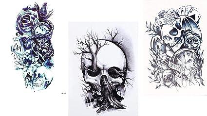 tatuajes de calavera de 3 hojas para tatuajes de festivales ...