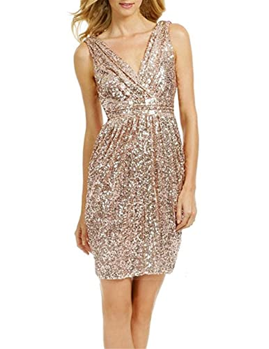 ModeC Women's Sexy Sheath Sparkly V Neck Short Bridesmaid Dresses Party Gown