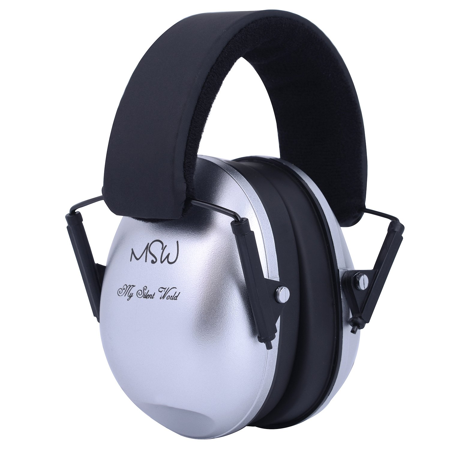 Kids Ear Protection Safety Ear Muffs, Adjustable Noise Reduction Ear Defenders for Studying Fireworks Construction Shooting Hunting Season, Suitable for Kids Small Adults, Silver