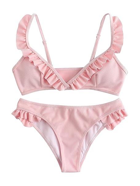 dc0fd180f0370 SOLY HUX Women s Sexy Push Up Swimsuits Ruffle Hem Ribbed Bikini Set Pink S