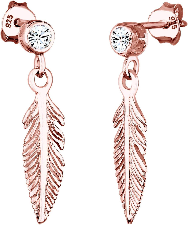 Elli Pendientes Boho de plumas de mujer con cristales de Swarovski® en plata esterlina 925