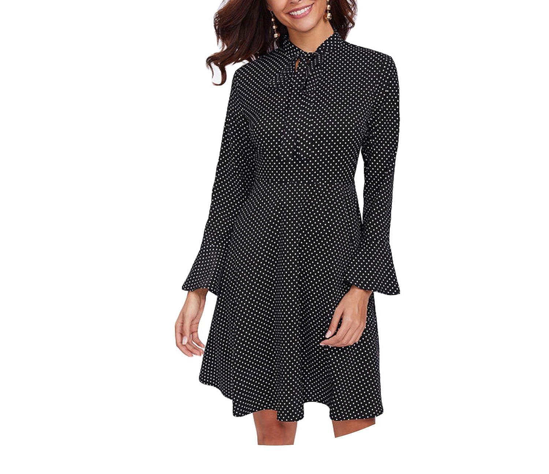 Tie Neck Bell Cuff Polka Dot A Line Dress Black Stand Collar Flare Sleeve High Waist Work Dress