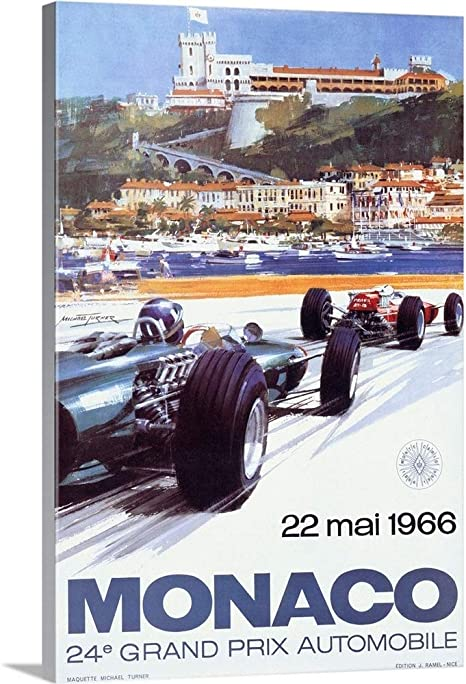 Vintage Monaco 1966 Vintage Advertising Poster Canvas Wall Art Print