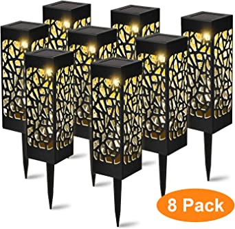 YAOBLUESEA Lámpara solar LED para jardín, exterior lámpara de jardín, lámpara solar para exterior, resistente al agua IP55,600 mAh, Decorativa terraza, patio, patio, luz blanca cálida, 8 unidades: Amazon.es: Iluminación