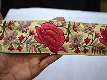 Amazon Com 2 5 Red Embroidered Designer Trims By 9 Yard On Ivory