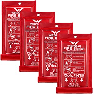 W WIREGEAR Fire Blanket Made of Fiberglass Convenient Durable and Economical Leaving no Mess and Economical with Functions of Flame Retardant Protection and Heat Insulation