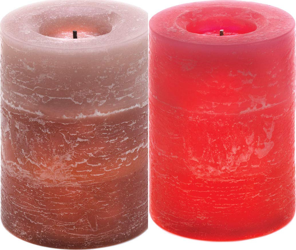 ROX Luxury House Pair Flameless LED Layered Candles Rustic Wood Spice Earthy Cinnamon