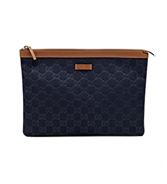 8edd5d5450f Image Unavailable. Image not available for. Color  Gucci Navy Blue Nylon  and Leather Zip Top Pouch Cosmetic Makeup Bag 286209