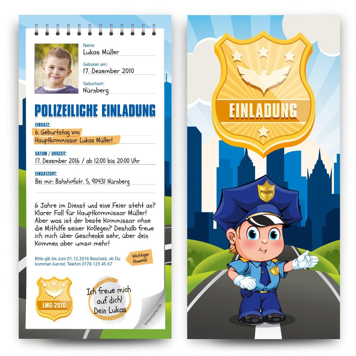 Einladungskarten Kinder Kinder Kinder (60 Stück) Geburtstag als Polizei Notizblock Vorladung Einladung B01JAK2IBO | Elegante und robuste Verpackung  | Exquisite (mittlere) Verarbeitung  | Hat einen langen Ruf  b3df73