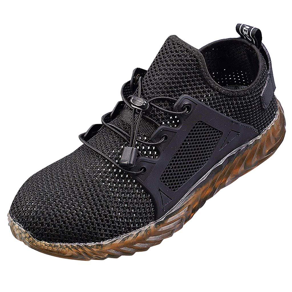 Sameno Street Sneakers Men Work Sneakers の Unisex Steel Toe Work Shoes Safety Boots Mesh Walking Shoes Plus Size 4-14 Dark Gray