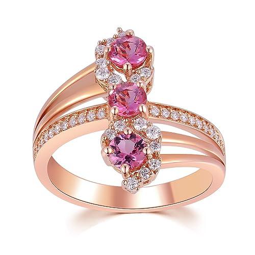 18 quilates 750 oro rosa Triple rojo turmalina con diamante anillo de promesa, compromiso,