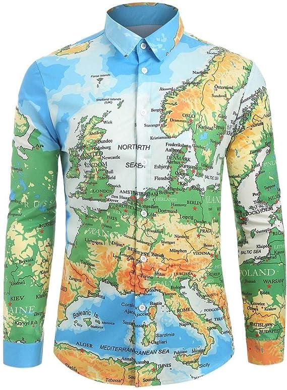 Camiseta de manga larga para hombre, diseño de mapa del mundo, impresión 3D, unisex, con botones extra-large Multicolor: Amazon.es: Hogar