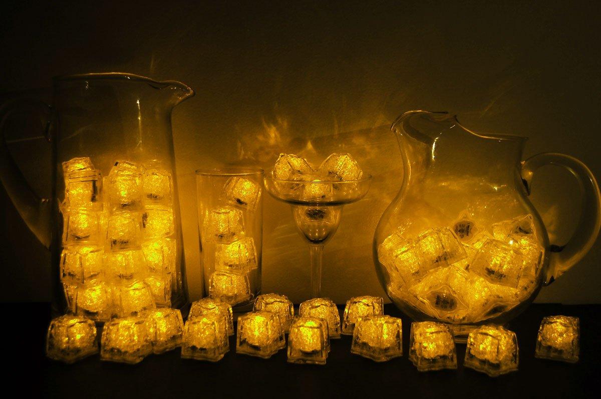 Set of 72 Litecubes Brand 3 Mode Yellow Light up LED Ice Cubes by LiteCubes