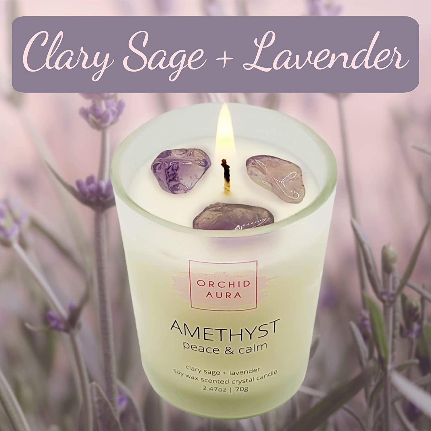 Citrine ORCHID AURA Soy Candles with Healing Crystals Amethyst ...