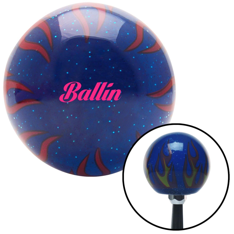 American Shifter 298467 Shift Knob Pink Ballin Blue Flame Metal Flake