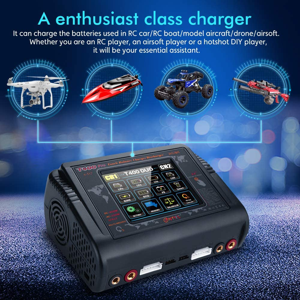 Lipo Charger 1-6S Touch Screen Dual Discharger AC200W DC400W 12A T400 Pro High Precision Fast Balance Battery Charger for RC Li-ion Life NiCd NiMH LiHV PB Smart Battery