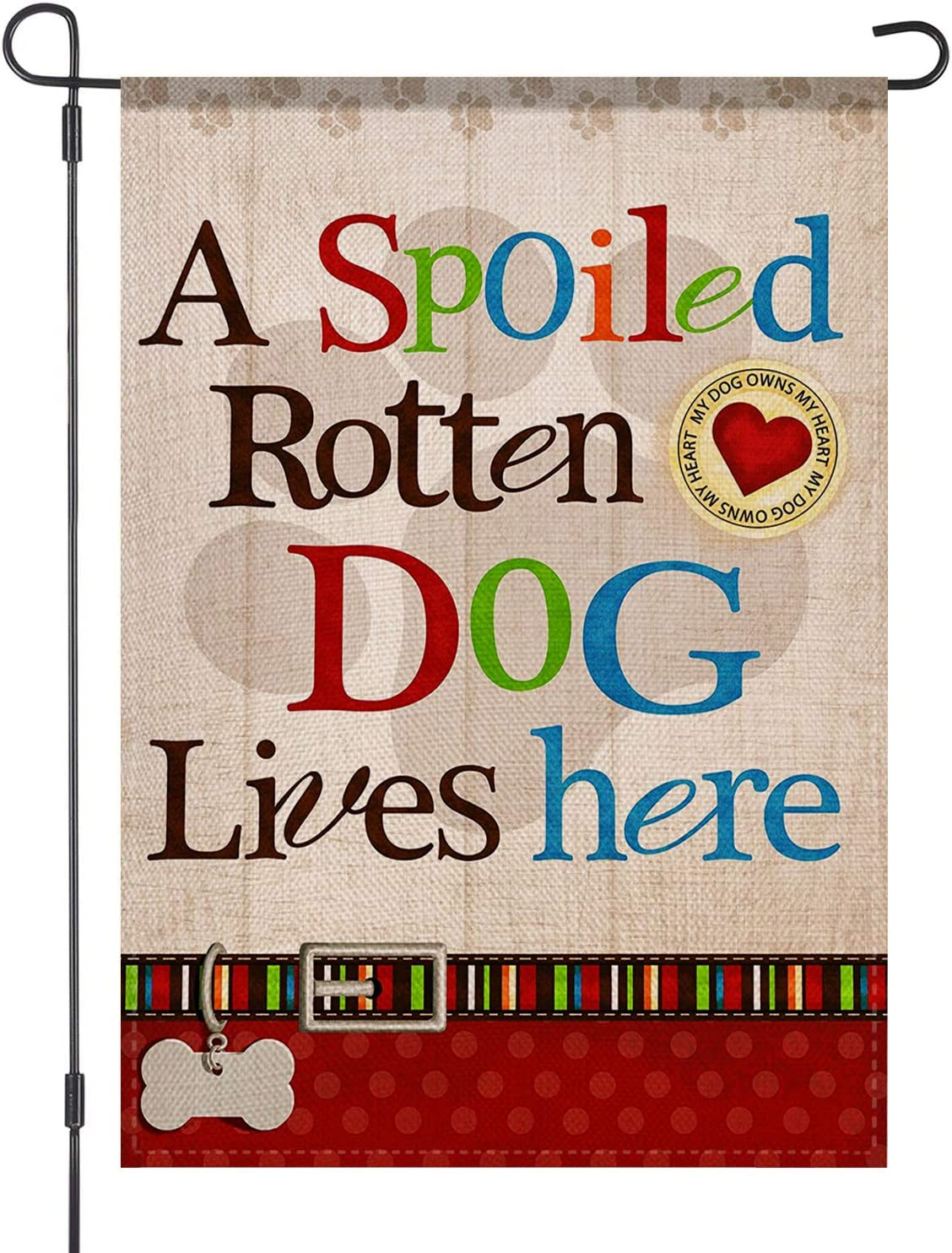 LOYOKI A Spoiled Rotten Dog Lives Here Pet Tag Pawprint House Garden Flag Burlap Double Sided Yard Outdoor Decoration 12.5 x 18 Inch