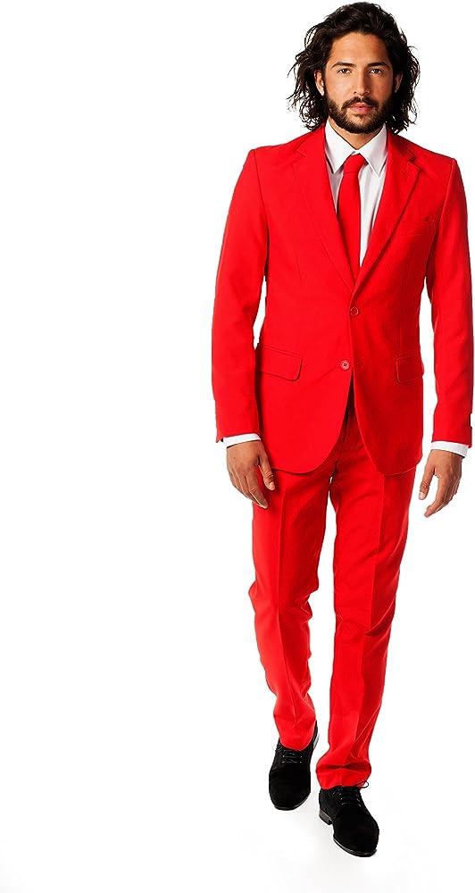 Amazon.com: HOTK Trajes de hombre con solapa de muesca roja ...