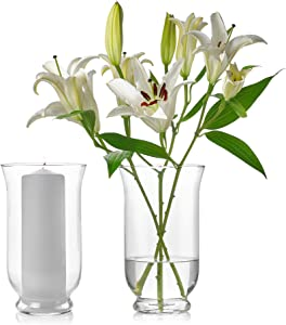 Set of 2 Glass Hurricane Vases 10 Inch Tall x 6 Inch Opening – Multi-use: Pillar Candle Holder, Flower Vase – Perfect as a Wedding Centerpieces, Home Decoration