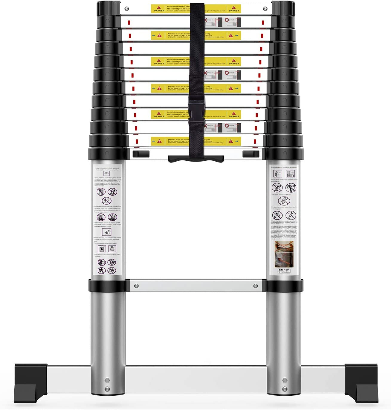 Telescoping Extension Ladder 12.5FT,Newly Aluminum Telescopic Ladder with Slow Down Design for Commercial or Home Use