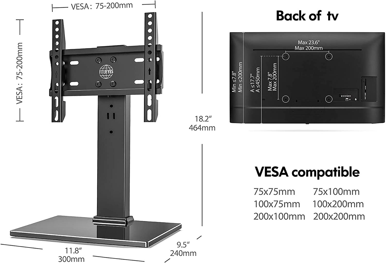 FITUEYES Soporte TV de 19 a 32 Pulgadas con Base de Vidrio Soporte de Mesa para Televisor LCD LED OLED Plasma Plano Curvo Giratorio 80° Altura Ajustable MAX VESA 200 x 200