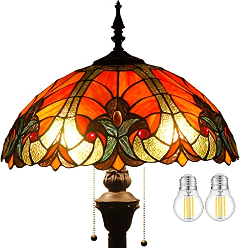 Tiffany Style Floor Standing Lamp 2PCS LED Bulb Included W16H64 Inch Tall Red Liaison Stained Glass Shade Antique Read Lighting Base S160R WERFACTORY Lamps Bedroom Living Room Coffee Table Gift