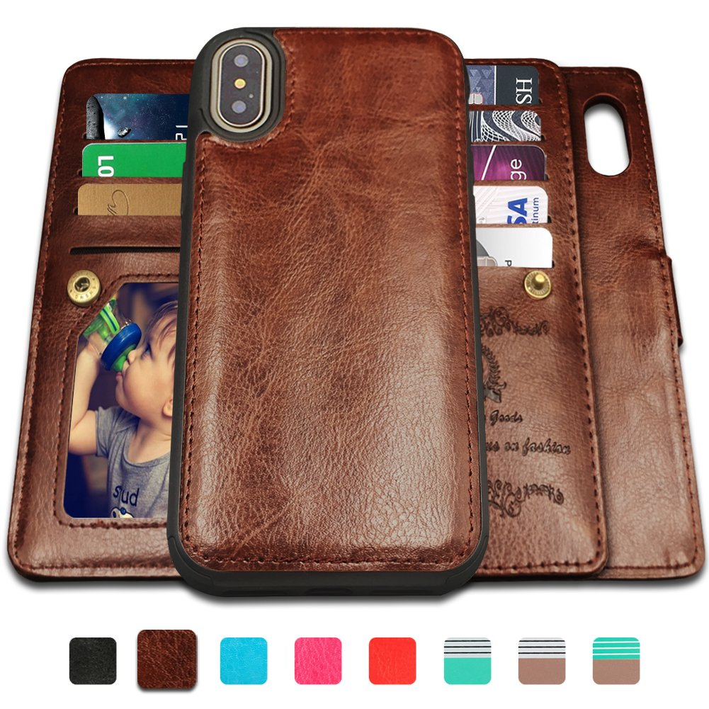 iPhone X Case,iPhone X Wallet Cases with Magnetic Detachable Case,9 Card Slots,Wrist Strap, CASEOWL 2 in 1 Folio Flip Premium PU Leather Wallet Case for iPhone X/10 5.8 inch 2017(Brown)