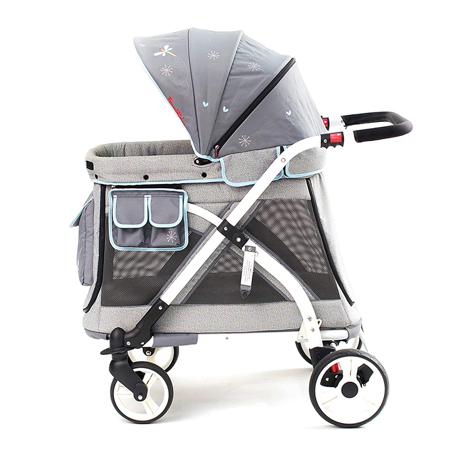 Familidoo Multi-Purpose Folding Single Stroller Wagon with Deep Carriage, Zipper Doors, Removable Reversible Canopy, Seat Chariot Mini Gray