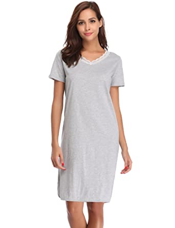 4bbabb47e4 Hawiton Women s Lace V Neck Nightdress Loose Fit Sleep Shirt Short Sleeve  Sleepwear Gray