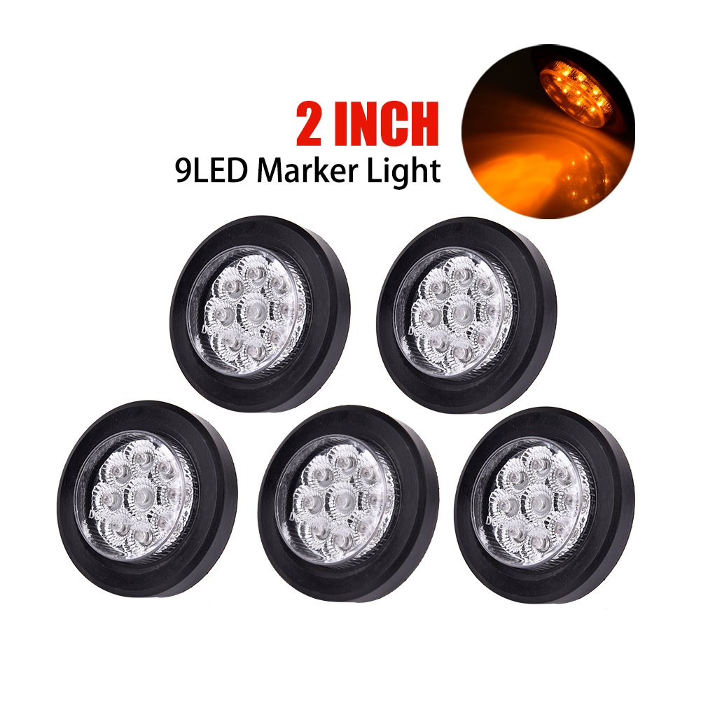 Catinbow 5pcs 2 Led Truck Trailer Rv Clearance Light Side Marker With Reflector Wire Clear Lens Amber 9led Grommets Pigtails Flush Mount Automotive