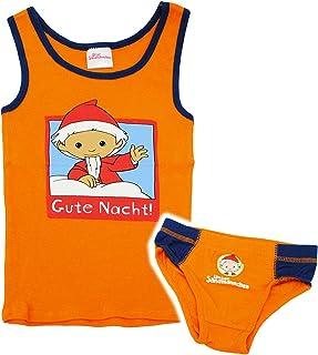 2 TLG. Set: Unterwäsche -  Unser Sandmännchen - Gute Nacht  - Gr. 110 - Größe 4 Jahre - Slip & Unterhemd - 100 % Baumwolle - Unterhose - orange - für Kinder.. Unbekannt