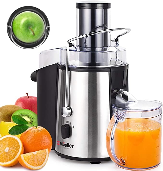 """Amazon.com: Mueller Austria Juicer Ultra 1100W Power, Easy Clean Extractor Press Centrifugal Juicing Machine, Wide 3"""" Feed Chute for Whole Fruit Vegetable, Anti-drip, High Quality, Large, Silver: Kitchen & Dining"""