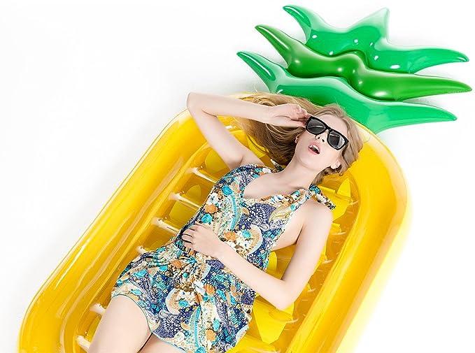 Jasonwell Piña Hinchable colchonetas Piscina Flotador Gigante de Piña Tumbona Flotadora/ Tumbona de Piscina Juguete para Adultos y Niños: Amazon.es: ...
