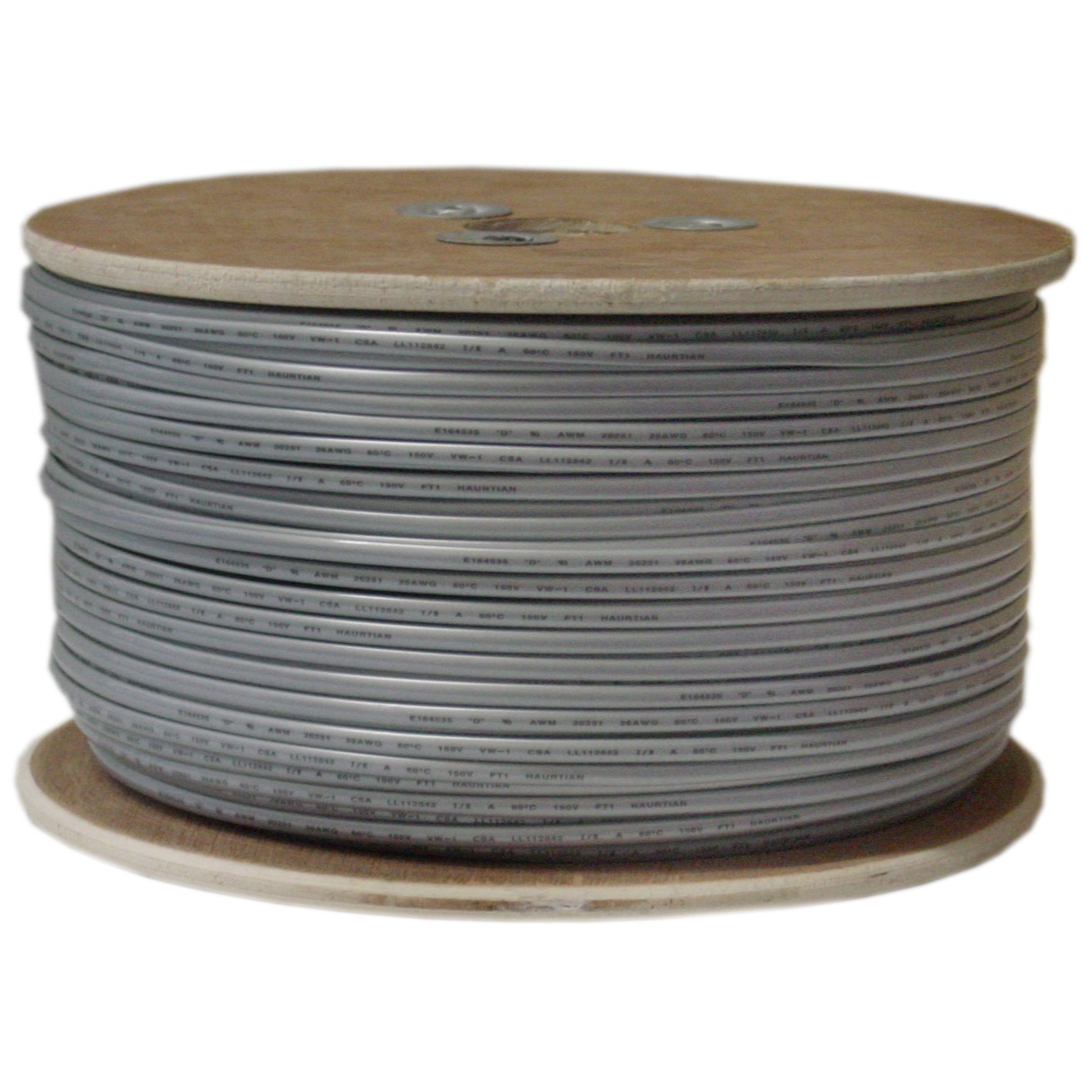 Bulk Phone Cord, Silver Satin, 26/4 (26 AWG 4 Conductor), Spool, 1000 Foot by CableWholesale