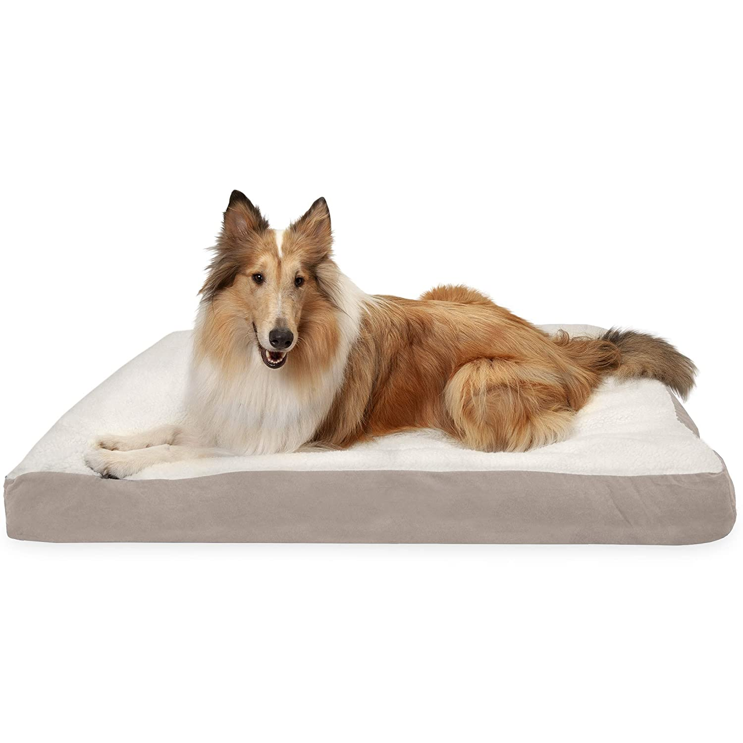 Cream Clay XL Cream Clay XL Furhaven Pet Sherpa and Suede Deluxe Fiber Pillow Dog Bed with Water-Resistant Base, Cream Clay, X-Large