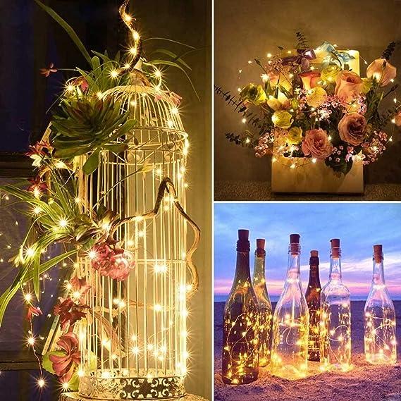 Yasolote 8 PACK 2M Cadena de Luces de Alambre 20 LED Luces de Botella con Pilas para Decorar Cosas de DIY, Árboles de Navidad, Luz Botella de Vino (Blanco ...