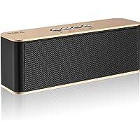 Altavoces Bluetooth, BARA S5 Bluetooth 4.2, Estereo HD, al Aire Libre Portátil, con Audio y Manos Libres, Unidad Dual Altavoz Bluetooth Inalámbrico, Es Idea para Hogar, Fiesta, Coche, Viajes (Gold)