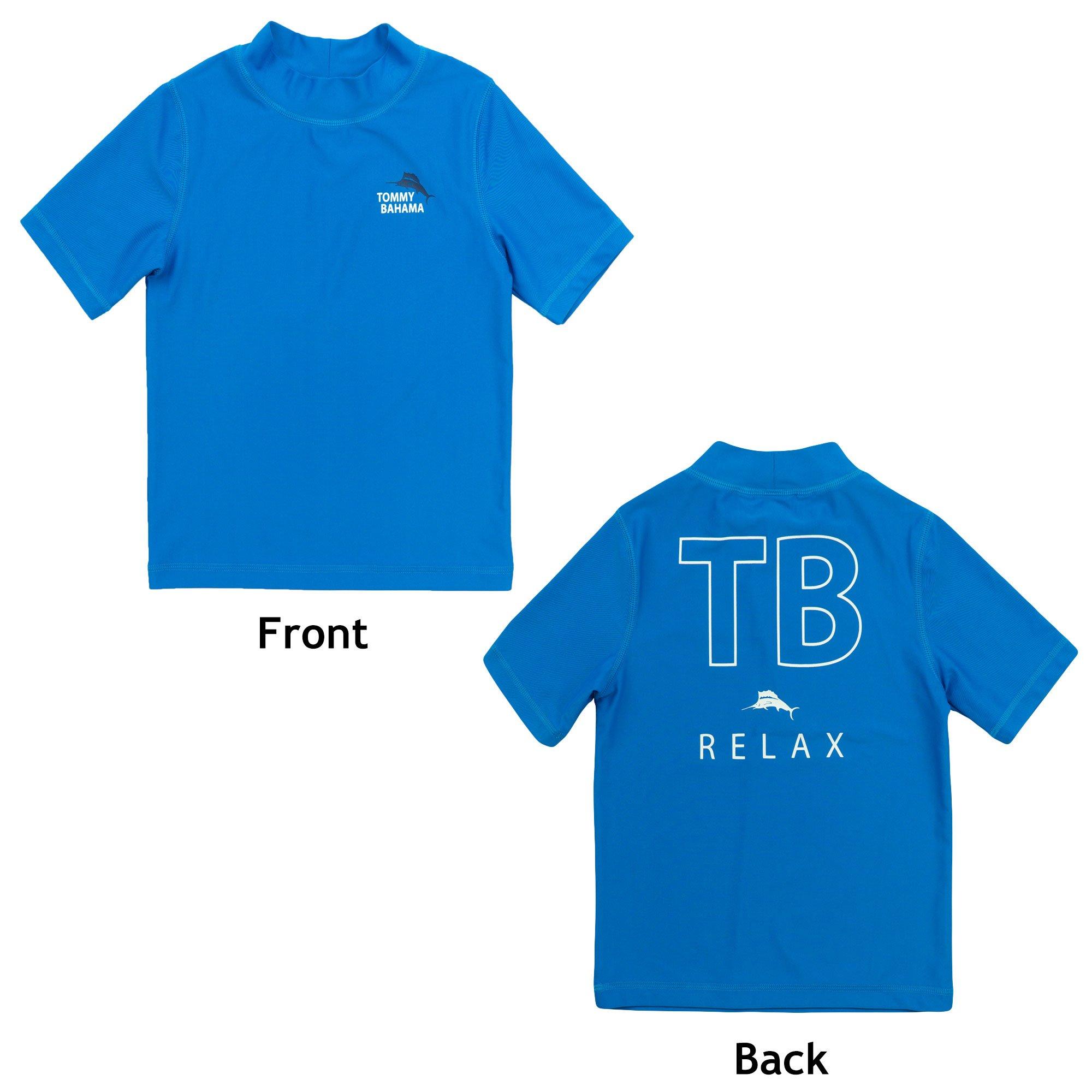 Tommy Bahama Boys Rash Guard Breathable Sun Protection Swim T-Shirt Blue and Beach Bag Large