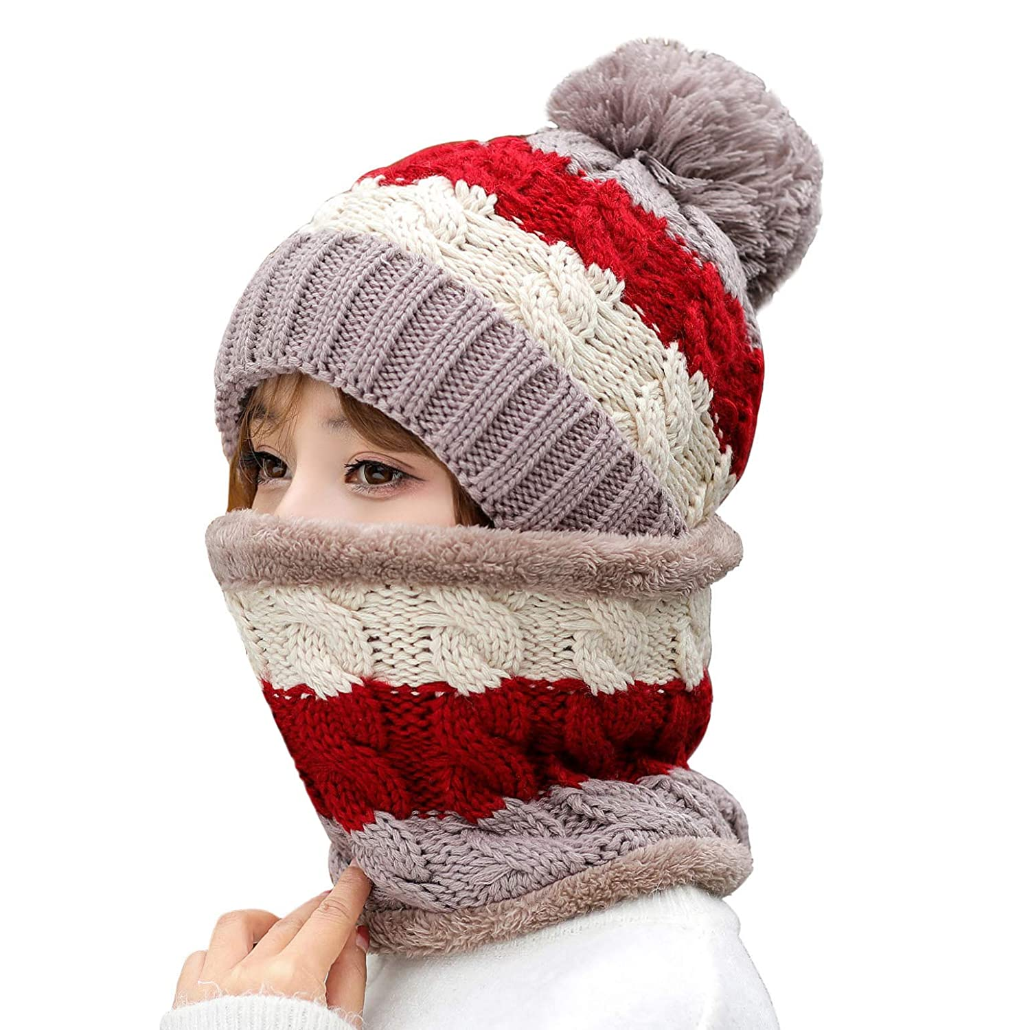 HUAMULAN Women Winter Thick Beanie Hat Ski Ear Flaps Caps Dual Layered