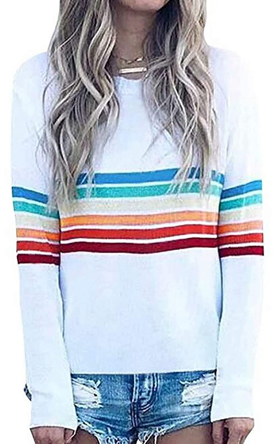 NANYUAYA Women Striped O Neck Long Sleeve T-Shirt Color Block Pullover Top Sweatshirt